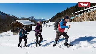 Schneeschuhwandern im Kaisertal bei Kufstein, Österreich – Schneebericht vom 15. Februar 2015