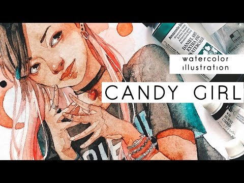CANDY GIRL -Watercolor illustration-