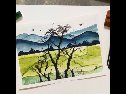 WATERCOLOR Landscape art Chinese Painting