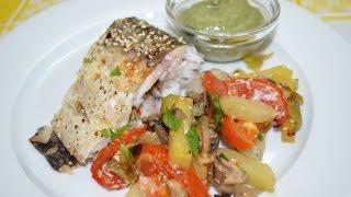 Запеченный Амур с овощами(Вкусный запеченный амур с овощами и кунжутными семенами в духовке. Приготовьте это блюдо для своей семьи..., 2014-07-15T11:51:29.000Z)