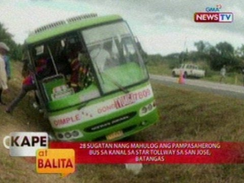 KB: 28 sugatan nang mahulog ang pampasaherong bus sa kanal sa star tollway sa San Jose, Batangas