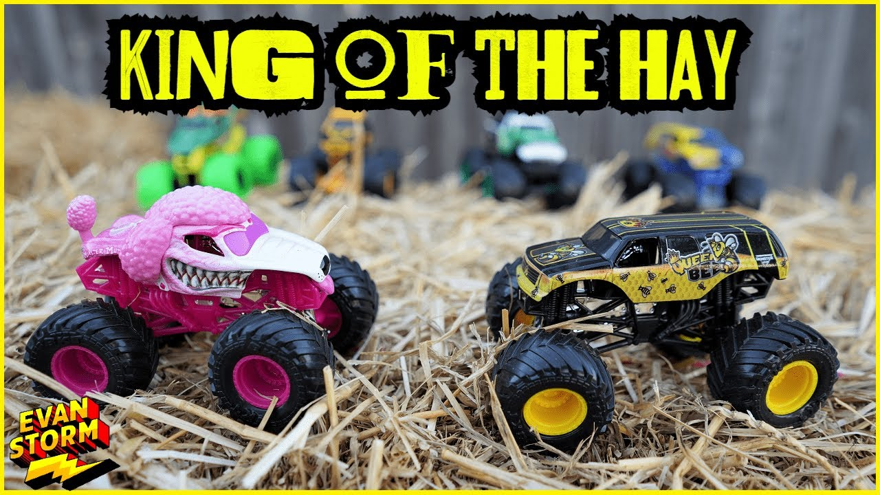 Monster Truck Monday Monster Jam Toy Truck Hunt & King of the Hay Challenge