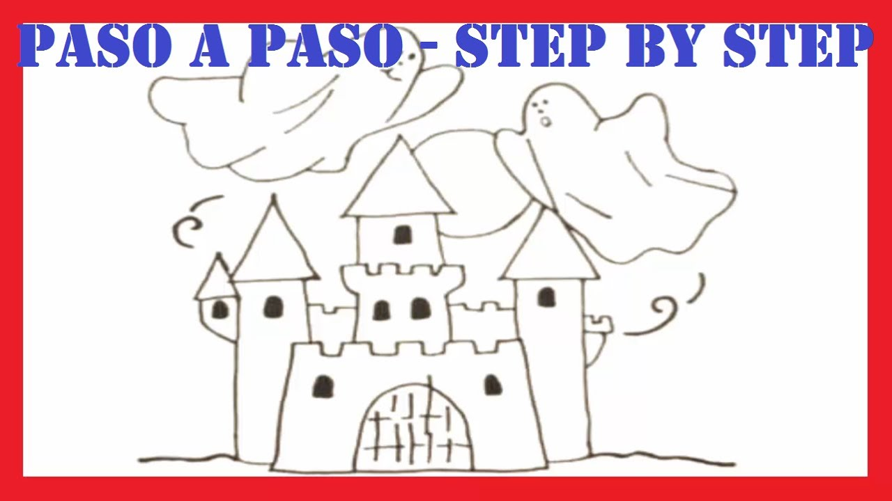 Como dibujar un castillo embrujado l How to draw a haunted castle l ...