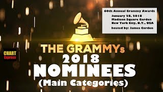 Grammy's 2018 - Nominees | The 60th Grammy Awards 2018 | Jan 28th, 2018 | ChartExpress