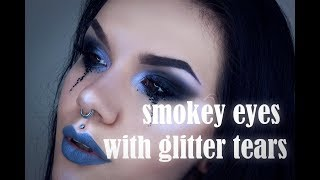 smokey eyes with glitter tears   makeup tutorial