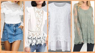 Outstanding lace net Blouse collection white eyelet top business women blouse collection