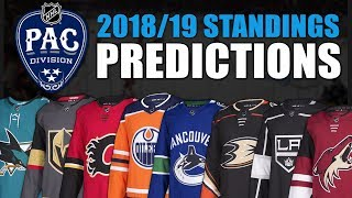 NHL 2018-19 Pacific Division Standings Predictions