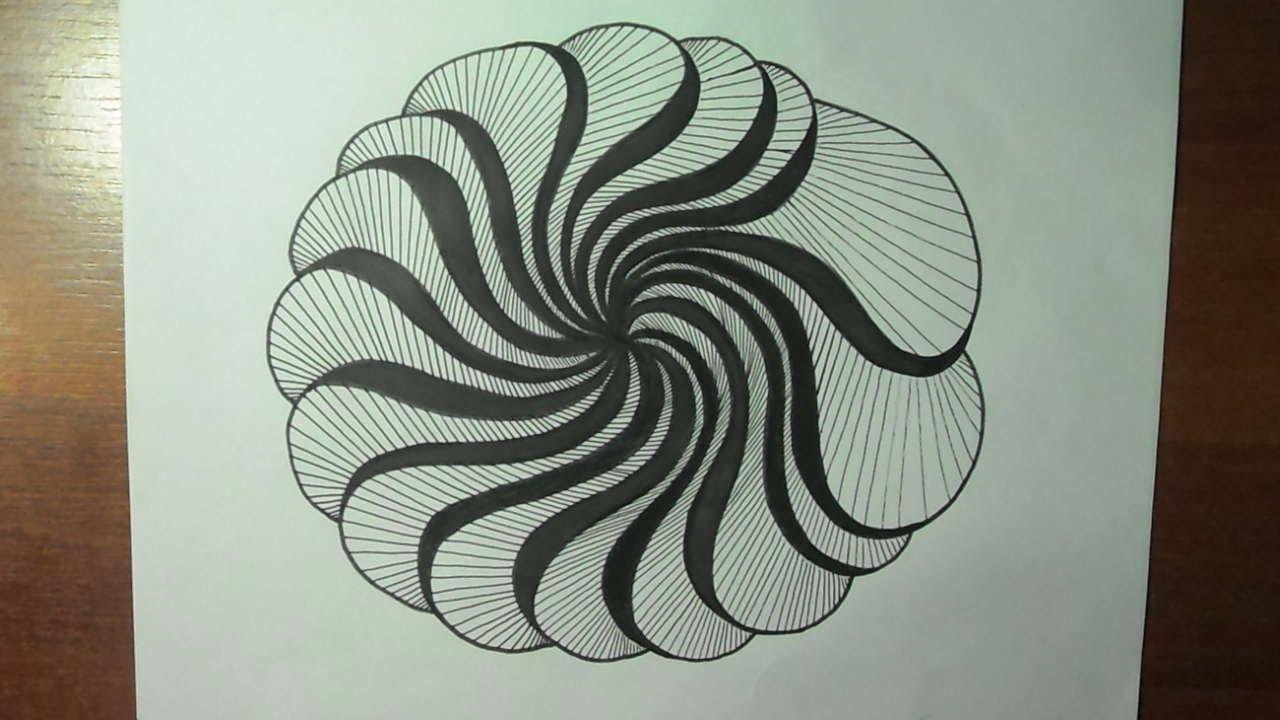 Como Dibujar Un Corazón En 3d Con Lineas: Dibujo Creativo. Ejercitando Con Líneas Curvas Y Líneas