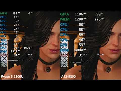 AMD Ryzen 5 2500U Vega 8 Vs. A12-9800 R7 In 3 Games