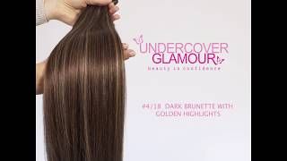 Dark Brunette with Golden Highlights #4/18 - Ultra Soft, Clip-in Human Hair Extensions