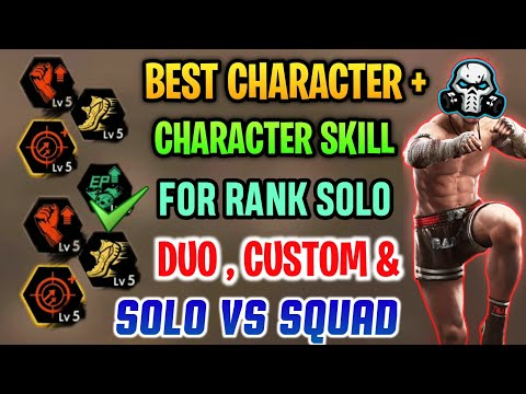 FREEFIRE BEST CHARACTER + CHARACTER SKILLS FOR RANK GAMES SOLO , DUO , SQUAD + CUSTOM 🔥🔥🔥