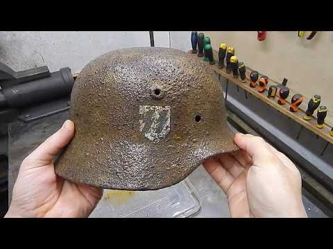 German Helmet Restoration. WW2 Waffen-SS Helmet Restoration