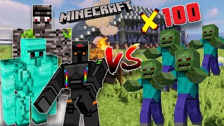 100 zombies vs diamond golem i…