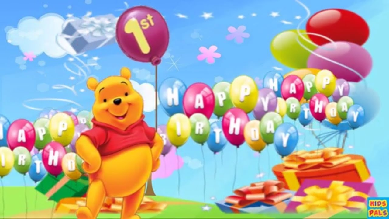 1st Birthday Wishes Happy Birthday Song With Winnie The Pooh Youtube