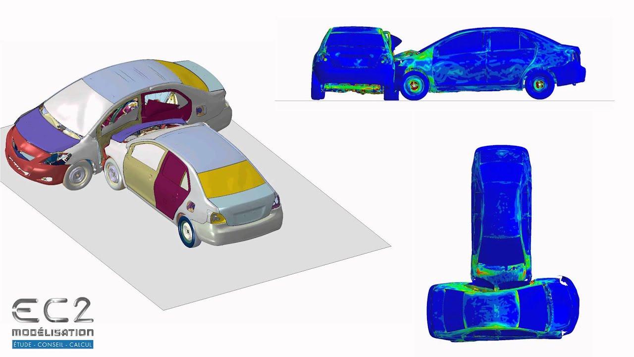Simulation numérique du crash test d\'une Toyota Yaris (Abaqus) - YouTube