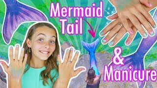 DIY Mermaid Manicure Nail Art and Fin Fun Mermaid Tail Swim With Ava