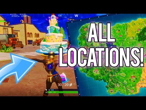 ALL FORTNITE BIRTHDAY CAKE LOCATIONS! (Dance In Front Of Different Birthday Cakes Location Fortnite)