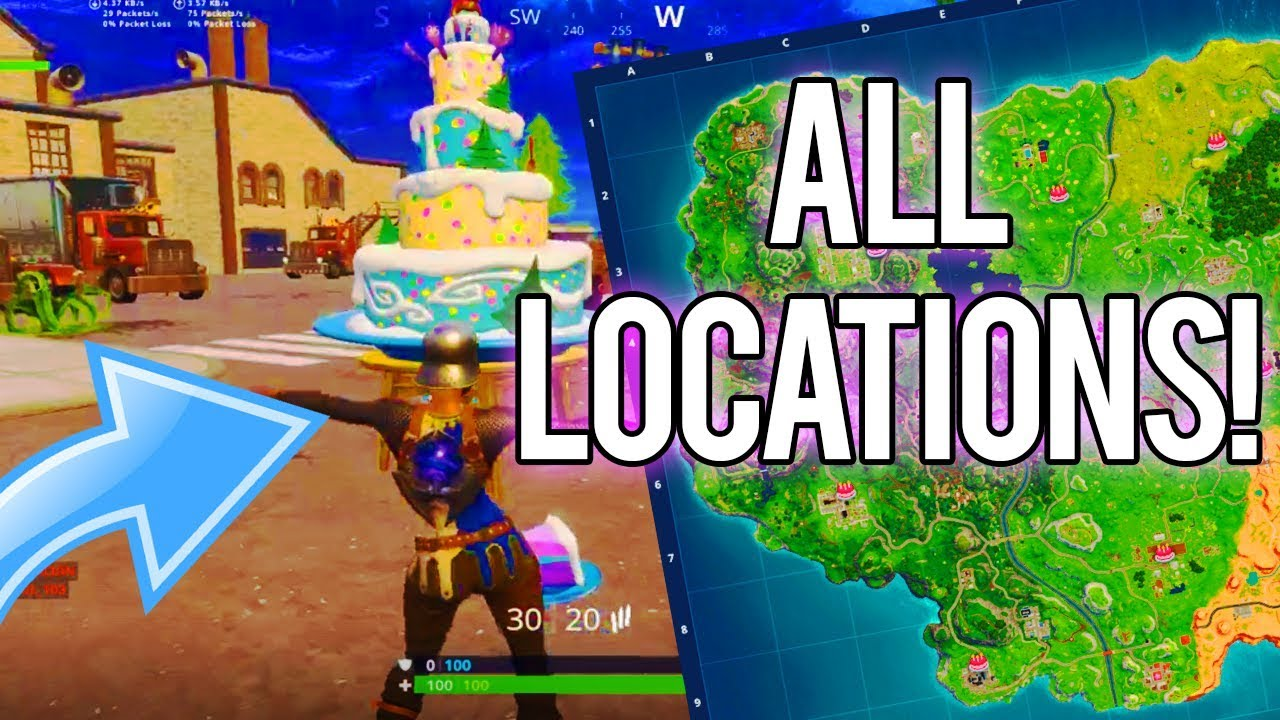 ALL FORTNITE BIRTHDAY CAKE LOCATIONS! (Dance in front of ...