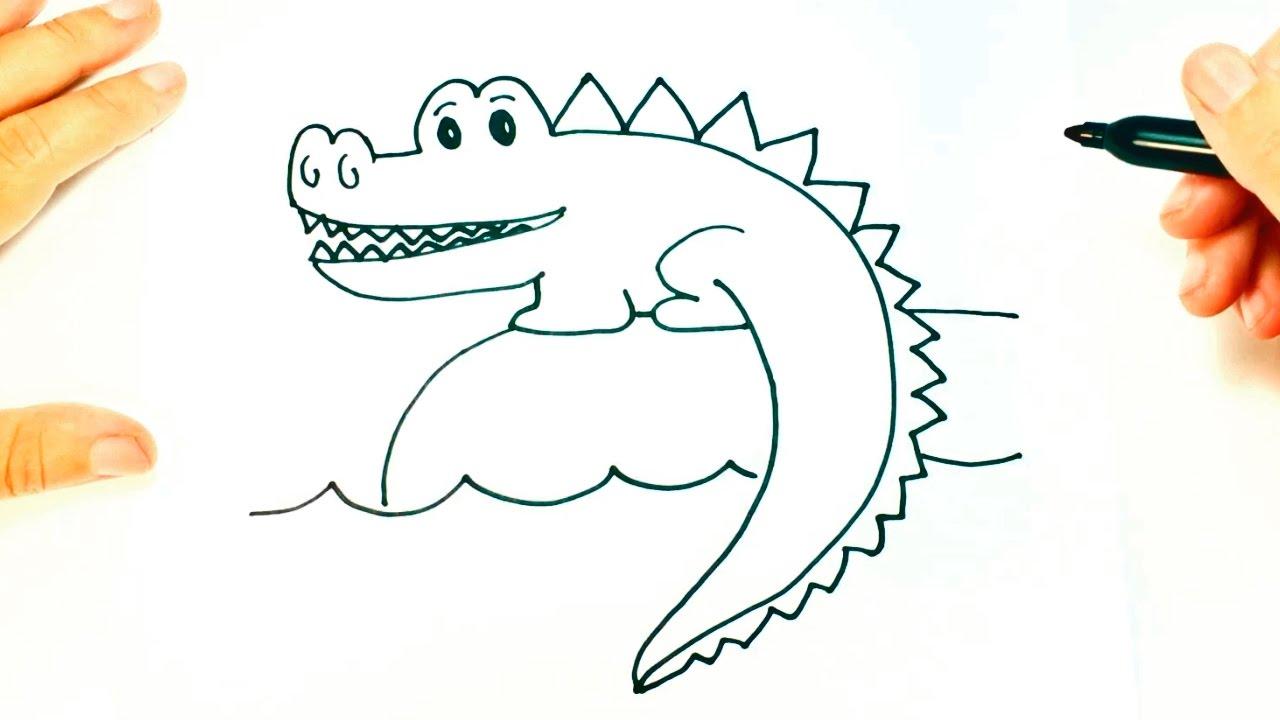 C mo dibujar un cocodrilo paso a paso dibujo f cil de for Comedor facil de dibujar