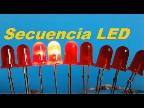 Secuencia de  LEDs con 555 y 4017 (Como se hace)