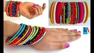 How to reuse old bangles at home / colourfull silk thread bangles / kalpana ambati 433
