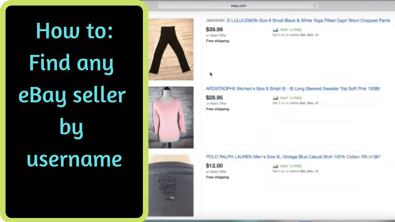 How To Find Any Ebay Seller By User Name Youtube