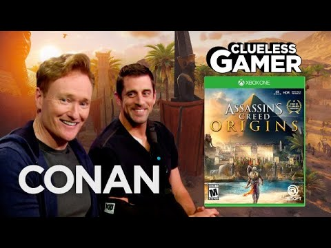 "Thumbnail: Clueless Gamer: ""Assassin's Creed Origins"" With Aaron Rodgers - CONAN on TBS"