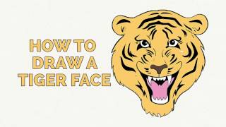 How to Draw a Tiger Face - Easy Step-by-Step Drawing Tutorial for Kids and Beginners