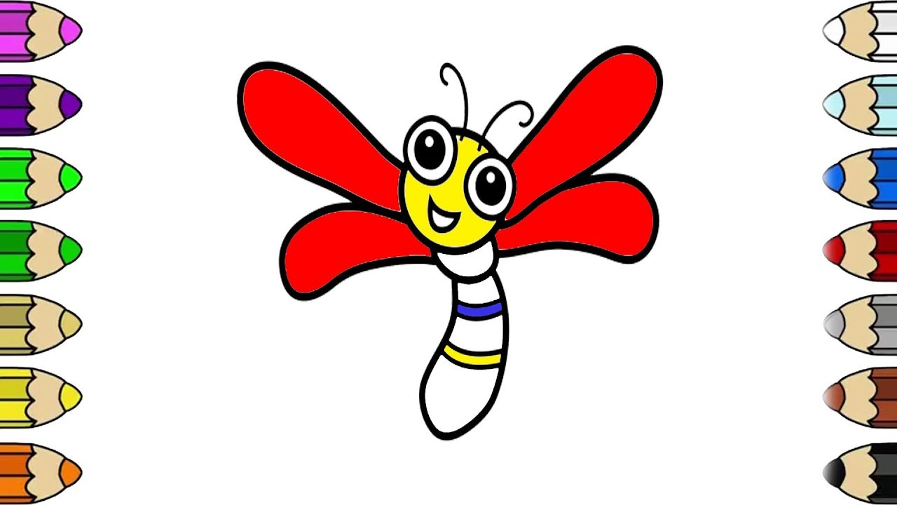 How to Draw Dragonfly Coloring Pages for Kids | Dragonfly With ...