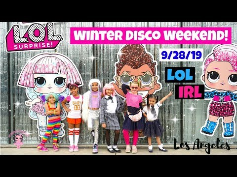 LOL Surprise Winter Disco Pop Up Party in L A! LOL OMG Dolls in Real Life LOL Chalet House and More!
