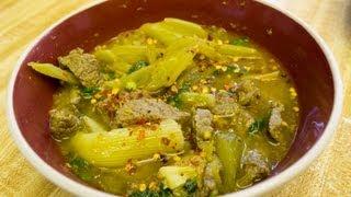 Somlor Machu Kreung Sach Ko (cambodian Beef Soup With Celery) សម្លម្ជូរ