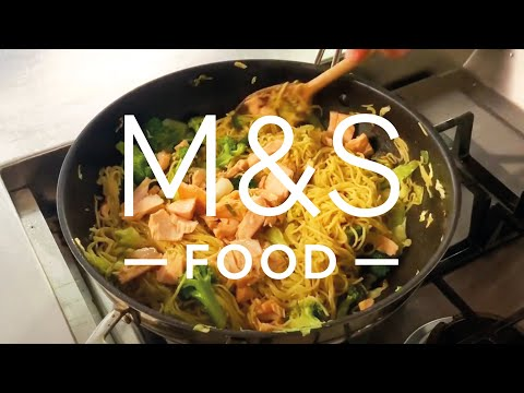 Tuck into Chris' sticky soy salmon stir-fry   FEED YOUR FAMILY WITH M&S FOOD