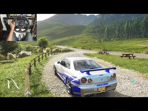 Nissan Skyline R34 GTR - Forza Horizon 4 | Logitech g29 gameplay thumbnail