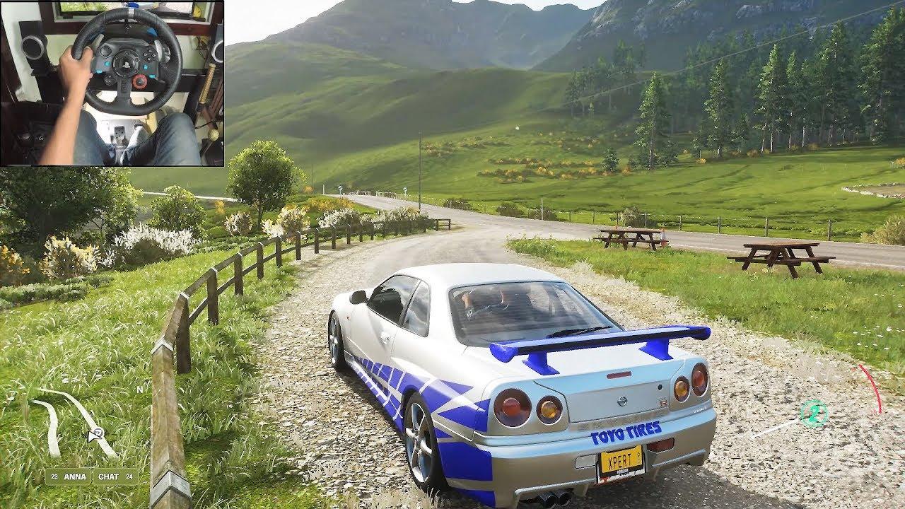 Nissan Skyline R34 GTR - Forza Horizon 4 | Logitech g29 gameplay