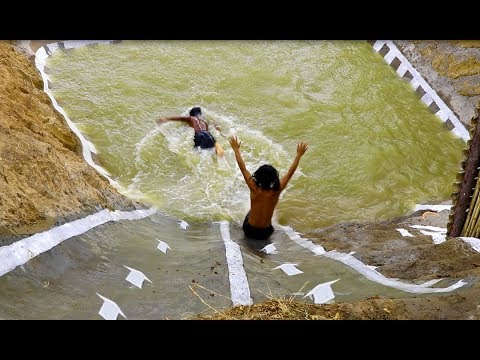 Dig cliff to build swimming pool and water slide youtube - How to build a swimming pool slide ...
