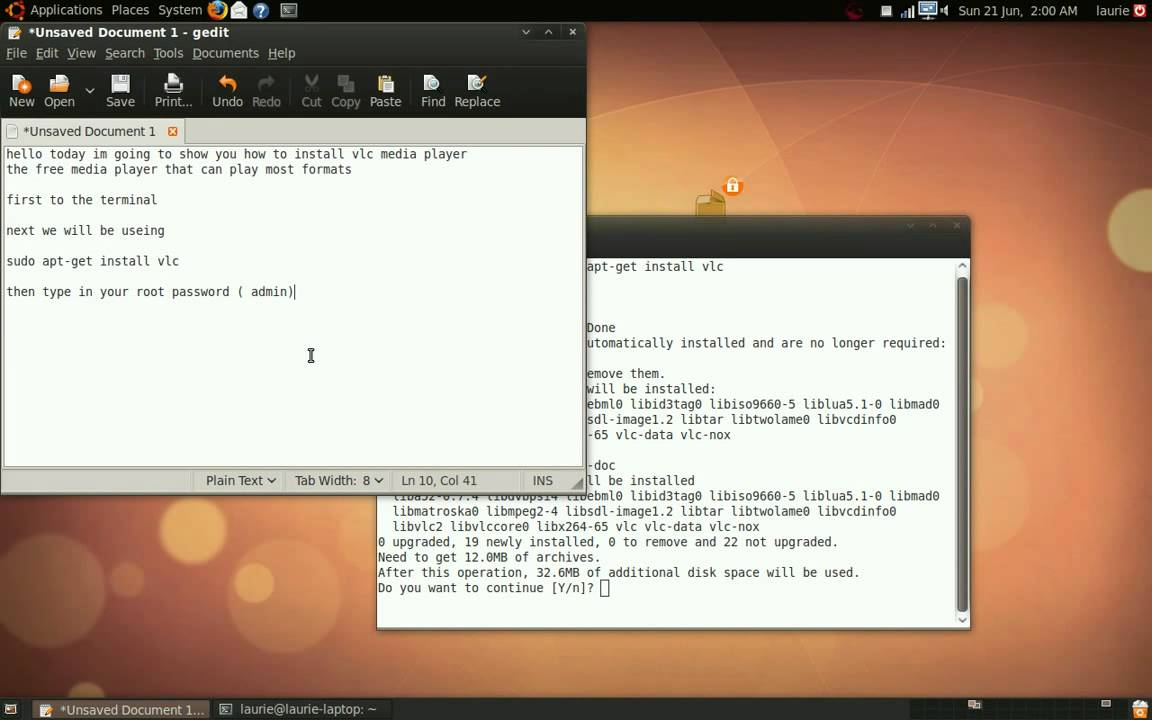 video tutorial on how to install vlc media player in ubuntu,linux