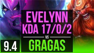 EVELYNN vs GRAGAS (JUNGLE) | KDA 17/0/2, Legendary | TR Challenger | v9.4