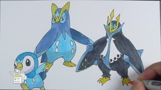 Drawing Pokemon: No. 393 Piplup, No. 394 Prinplup, No. 395 Empoleon