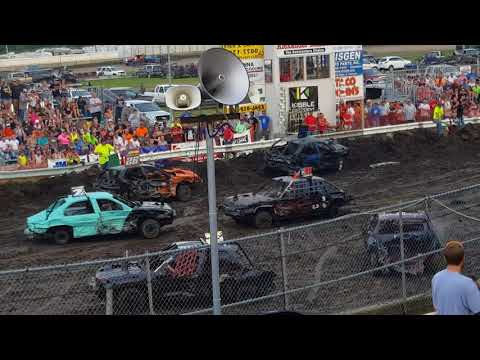 Steele County Fair Owatonna, MN compact car stock class demo derby Aug.20th, 2017