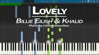 Billie Eilish & Khalid - Lovely (Piano Cover) Synthesia Tutorial by LittleTranscriber