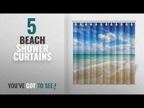 Top 10 Beach Shower Curtains [2018]: InterestPrint Beach Ocean Theme Shower Curtain, Wavy Ocean