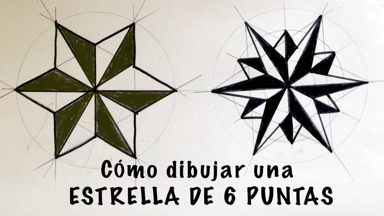 Cómo dibujar una estrella de 6 puntas paso a paso - YouTube