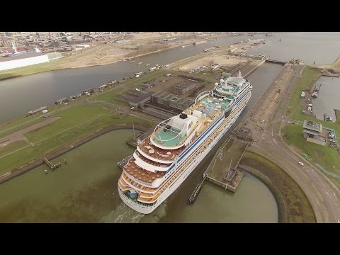 AIDAmar Cruise Ship by Drone Locks of IJmuiden