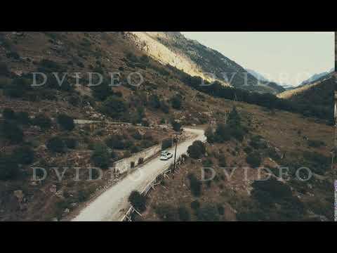 Top view car jeep moving along winding road mountain at summer vacation