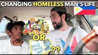PART 1: HELPING a REAL Filipino HOMELESS Garbage Man 🇵🇭 PERA or PAGKAIN?
