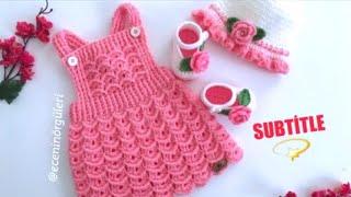 🌸🌿Tığ işi Salopet Elbise /Karnabahar Modelli Elbise/Askılı Bebek Elbise/0-1 yaş/