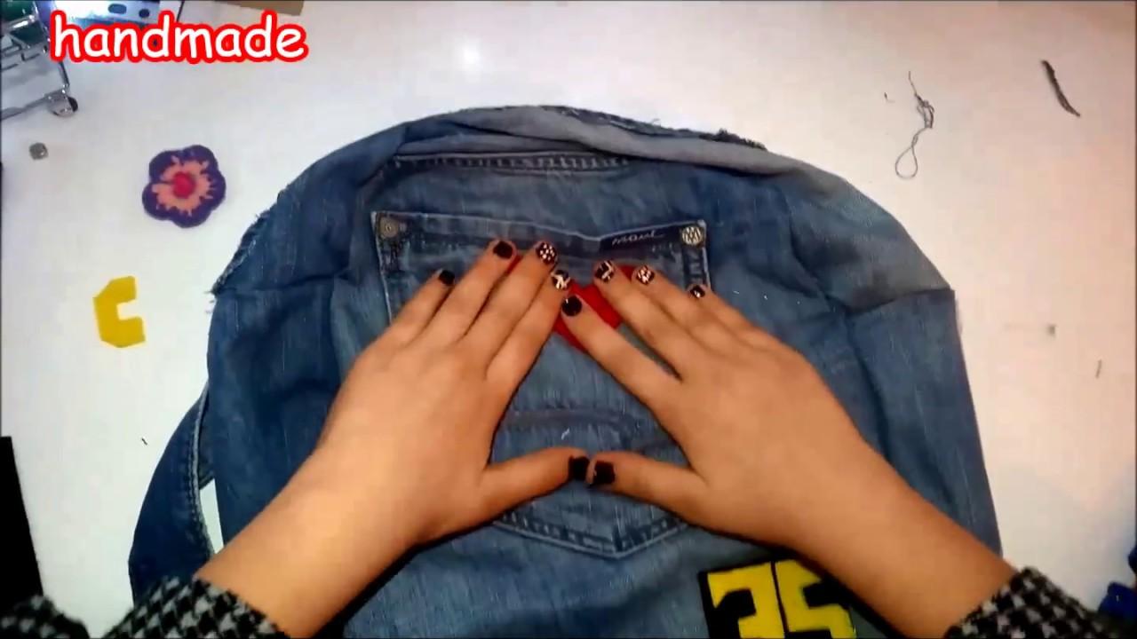 a91388af79cdd zelish handmade dıy kot sırt çantası yapımı - YouTube