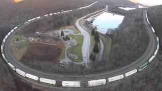 Horseshoe Curve Aerial Video - Full Train Around The Curve, Altoona, PA