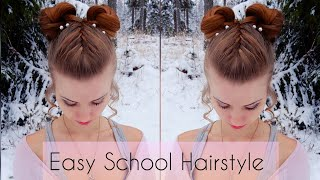 #braids #braidstyles Cute & quick bun style | Back to School Hair | How to Braid DIY