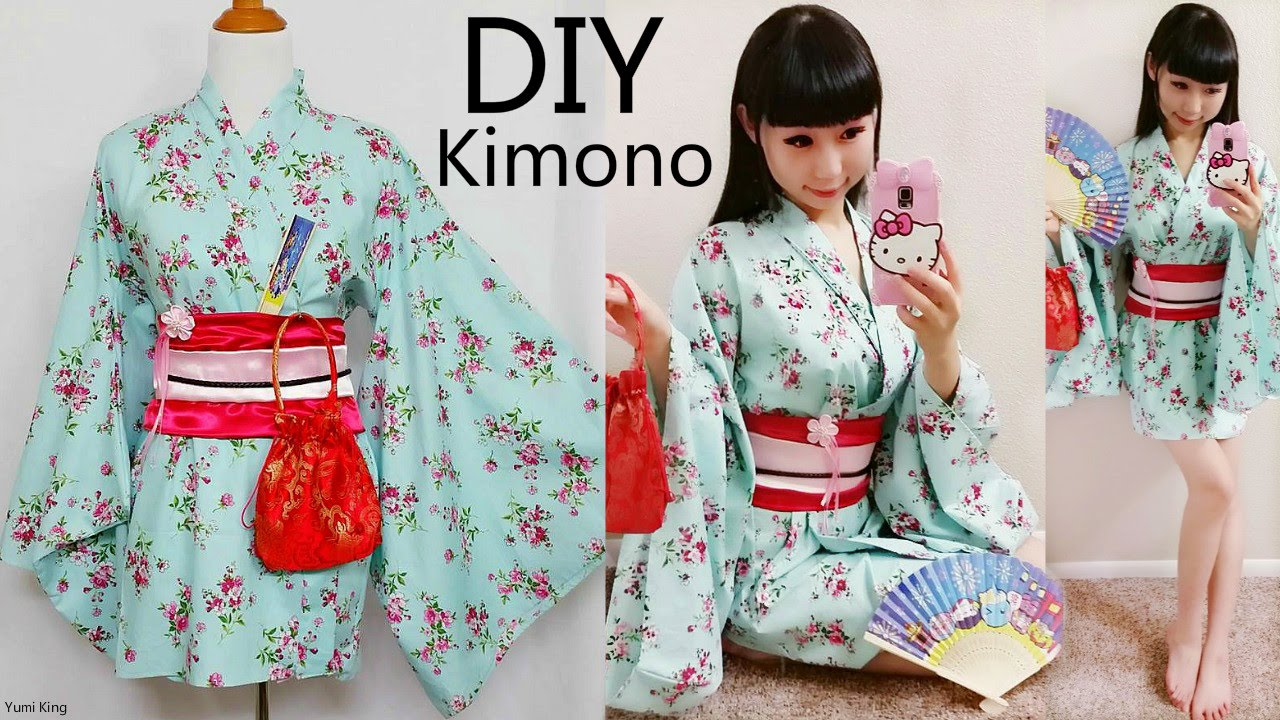 Diy Easy Kimono Yukata With Easy Pattern Diy Cosplay Costume Designed By Me Youtube